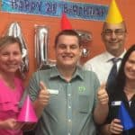 Alex celebrates his 21st birthday at his workplace Woolworths, surrounded by local EPIC staff and Woolworths staff