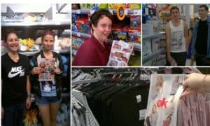 A collage of the EPIC school students completing their activities inside kmart and target