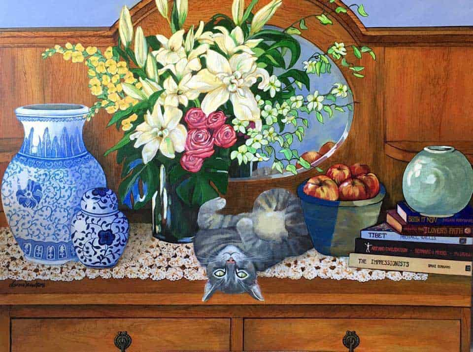 Misty's morning, a painting by Donna Hawkins of a cat lying on a side table