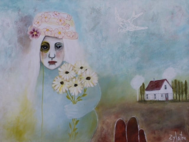 An artwork by Febe Zylstra of a girl holding daisies as she walks back to the house