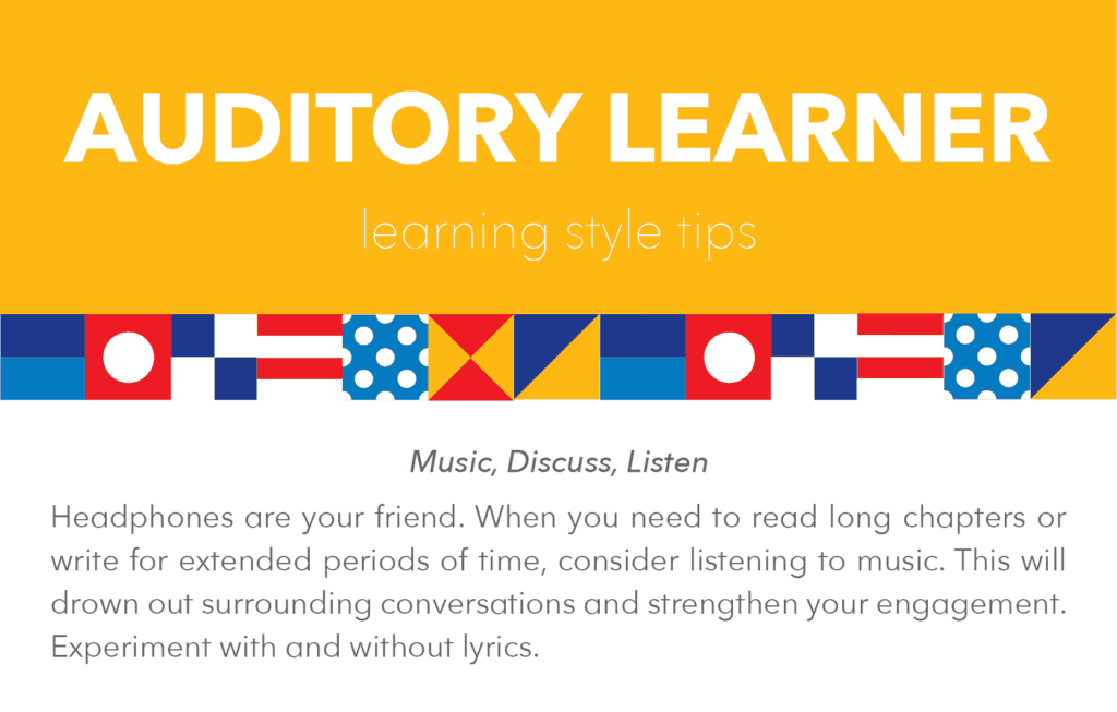 Auditory learning style tips and tricks: music, discuss, listen