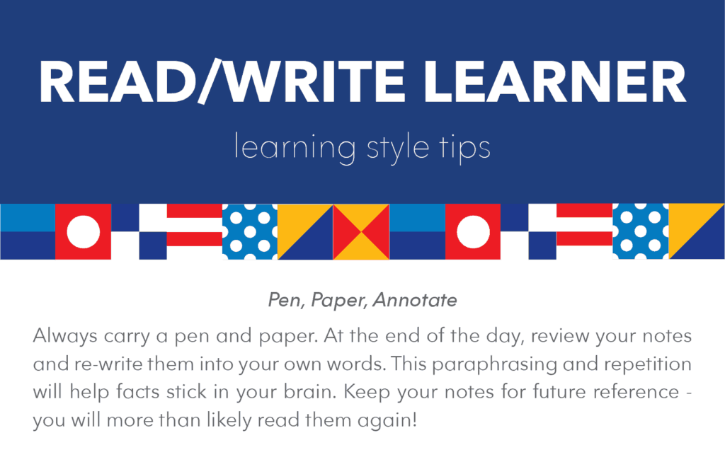 Read/Write learning style tips and tricks: pen, paper, annotate