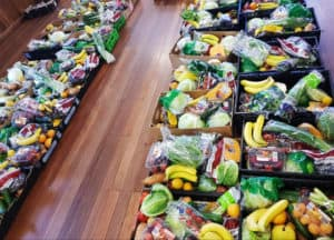 A line of free hampers to help out locals in need of financial support