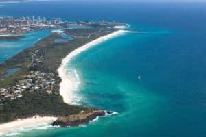 Aerial photo of Fingal Head, Tweed Heads, NSW.