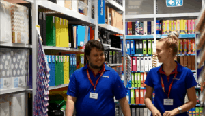 Cody walks down the aisles at Officeworks