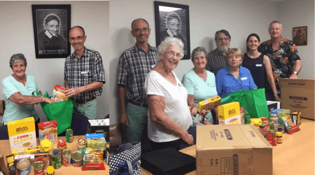 OLR conference members packing food hampers to be deliver to those in need in the Caloundra area.
