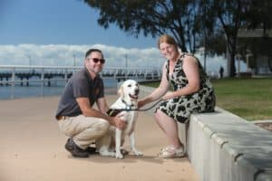 Isabella Allen, guide dog and representative from Guide Dogs Australia