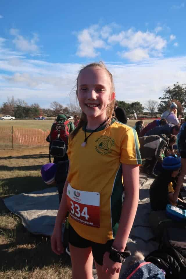 Matilda, 12, cystic fibrosis Tasmania member at cross country event