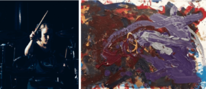 A young women plays the drums on the left, a painting is on the right