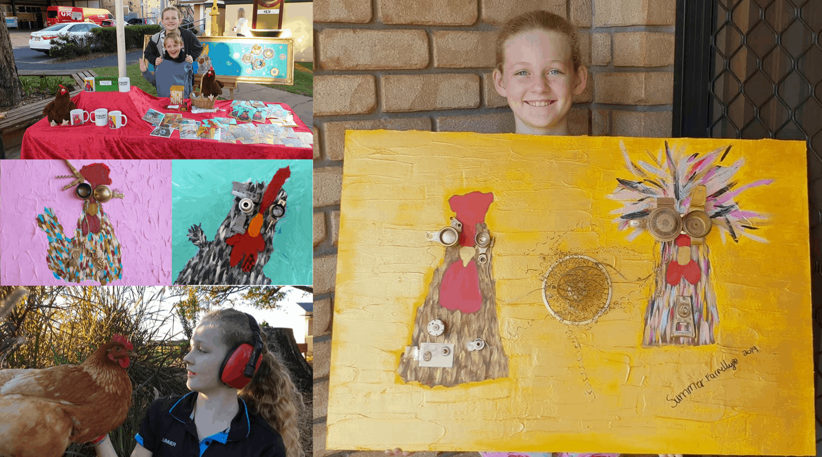 Collage of images featuring 12 year old artist Summer Farrelly and three of her artworks of cyborg chickens