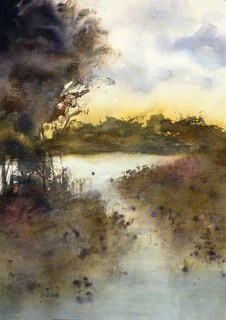 water colour painting of a lake at sunset