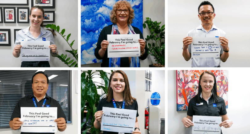 Collage of six EPIC staff members holding their Feel Good February cards.