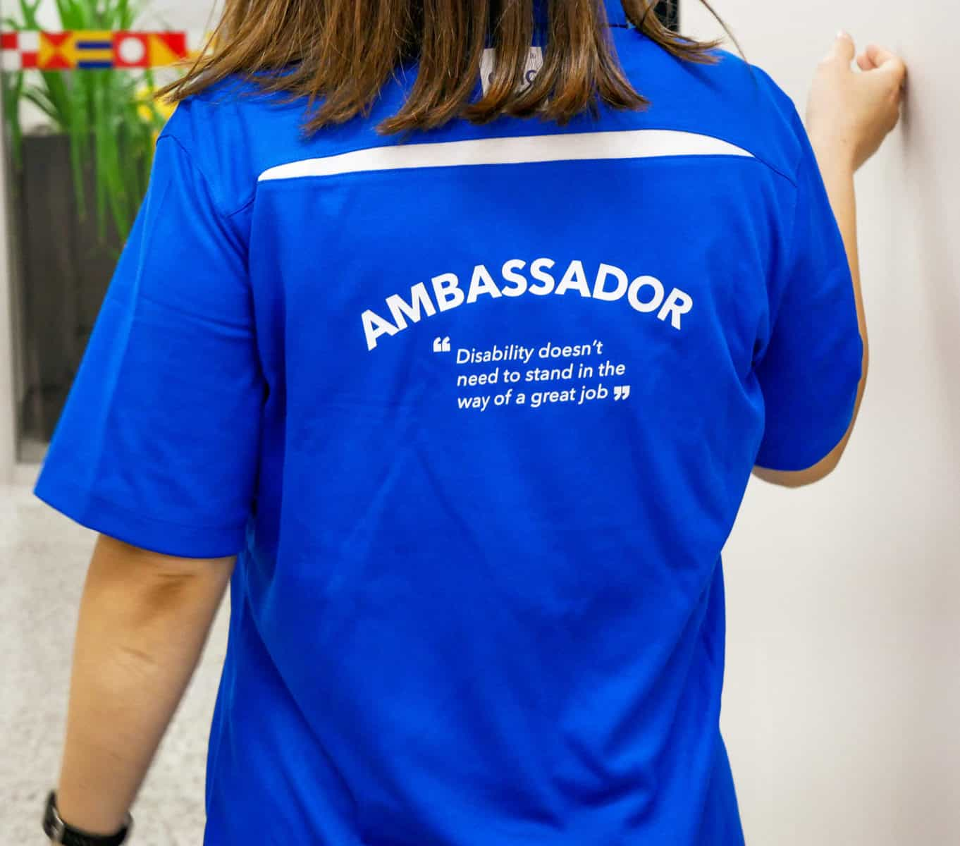 "EPIC Ambassador t-shirt: ""disability doesn't need to stand in the way of a great job."""
