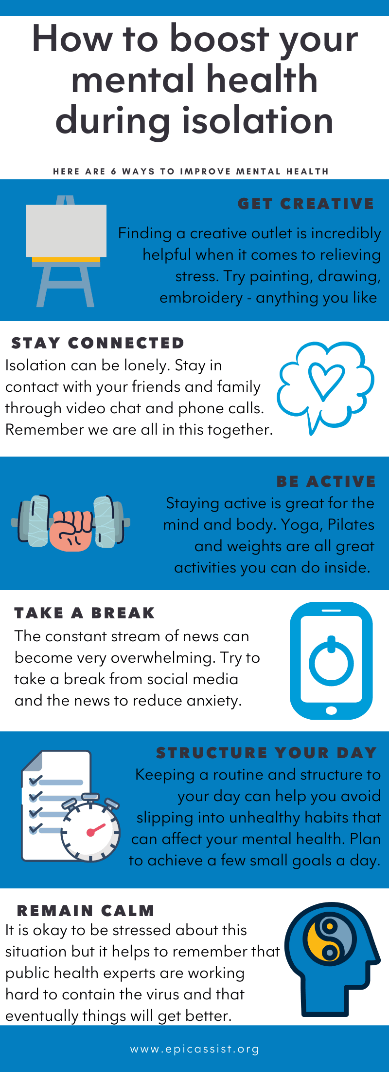 Info-graphic on how to look after your mental health during the COVID-19 crisis