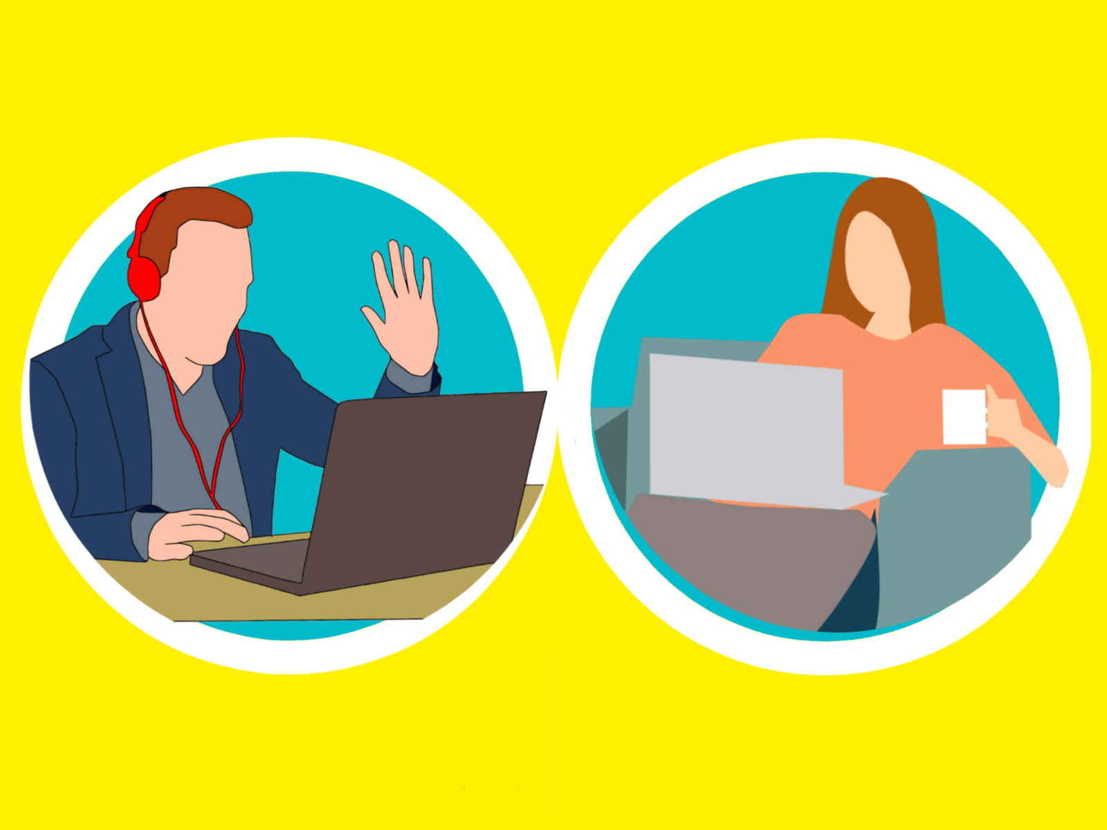 Illustration of a man using a laptop to make a video call, and a lady viewing her laptop receiving the call